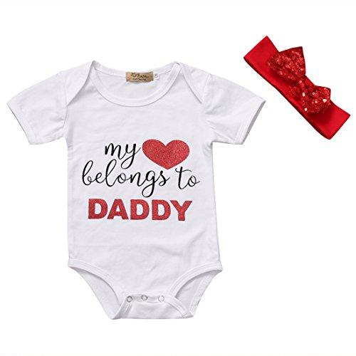 Baby Girls Lovely Color Sentence Print Love Heart Pattern Summer Romper+Headband (0-3 M, White) Daddys Little Girl