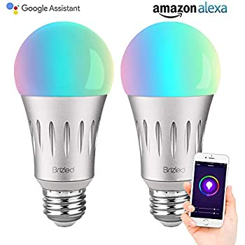 Brizled Smart Light Bulb, A19 7W 60W Equivalent Wi-Fi LED Bulbs, Dimmable RGBW Tunable Warm White Smart Bulb, No Hub Required Alexa Color Bulbs Work with ...