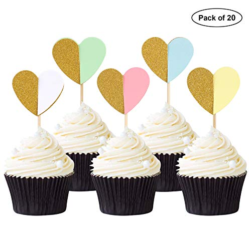 (20PCS Solid Heart Cupcake Toppers Mixed Color Cake Decorations for Birthday Party and Wedding)