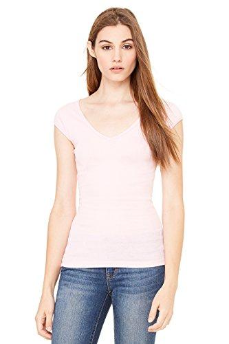 (Ladies' Sheer Rib Cap Sleeve Deep V-Neck Tee Shirt, Color: Pink, Size: Small)