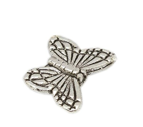(GBSTORE 50 Pcs Tibetan Silver Butterfly Spacer Charm Beads)
