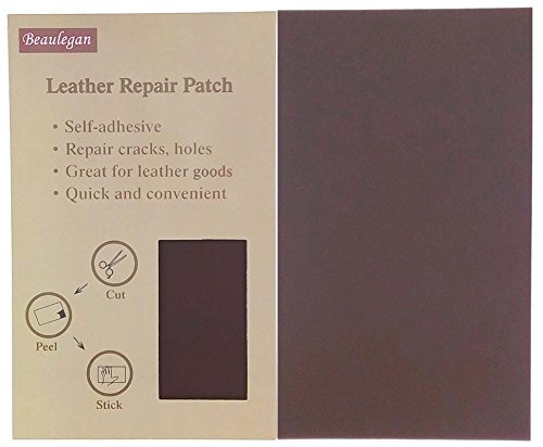 Leather Patch - Adhesive Backing - Repair Sofa, Car Seat, Jackets, Shoes and Handbag, 10 Inch by 6 Inch, Dark Brown - by Beaulegan