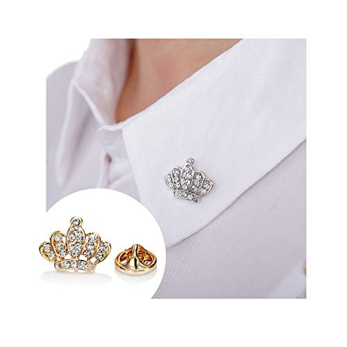 (Gold/Silver Crystal Crown Lapel Pin Brooch Suit Coat Jewelry Accessories (Silver))