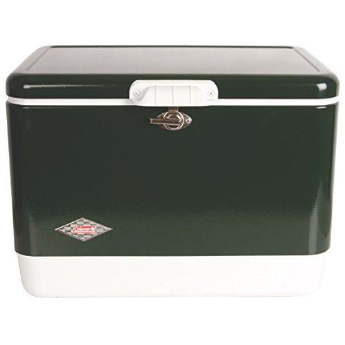 (Coleman Camping Tailgating 54 QT Stainless Steel Belted Ice Chest Cooler | Green)