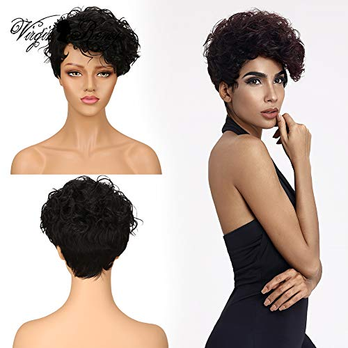 QVR Short Pixie Wigs for Black Women Curly Human Hair Wigs All Machine Made Wigs 1B