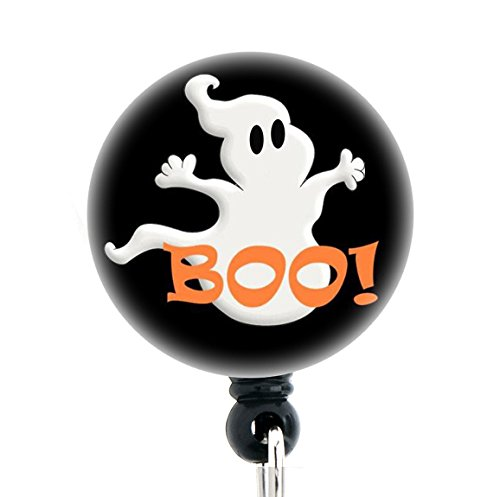 Halloween Ghost - Retractable Badge Reel With Swivel Clip and Extra-Long 34 inch cord - Badge Holder