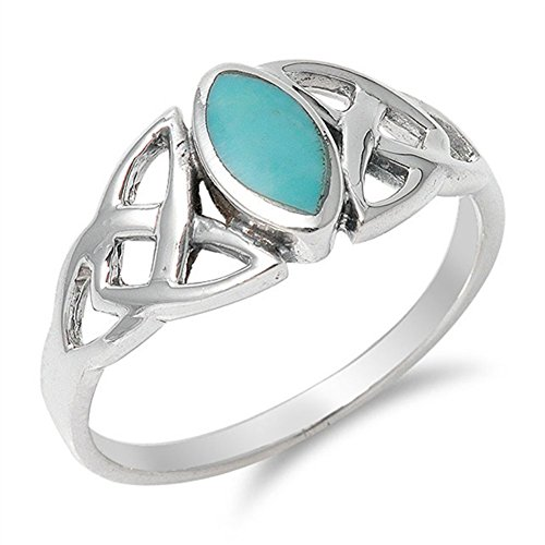 Simulated Turquoise Celtic Knot Classic Marquise Ring .925 Sterling Silver Band Size 8 (Ring Celtic Knot Classic)