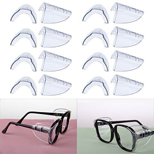 Hub's Gadget 8 Pairs Safety Eye Glasses Side Shields, Slip On Clear Side Shield for Safety Glasses- Fits Small to Medium Eyeglasses