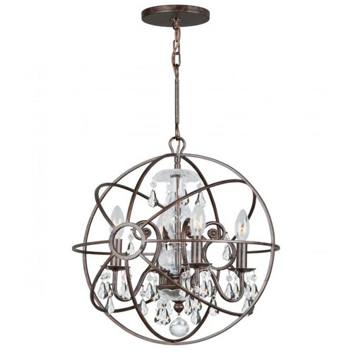 Solaris 1 Light Pendant (Crystorama Lighting 9025-EB-CL-MWP Chandelier with Clear Crystals, English)