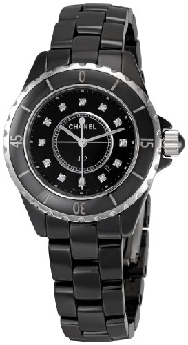 Chanel Women's H1625 J12 Diamond Black Dial Watch