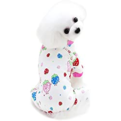 Scheppend Cozy Pet Pajamas for Small Dogs Thick Onesie Jumpsuits Soft Puppy Coat Cat Clothes, Strawberry S