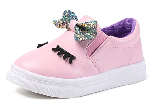 Price comparison product image iDuoDuo Girls Glitter Bowknot Loafers Cartoon Princess Slip On Sneakers Pink 8 M US Toddler