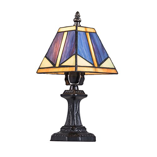 Tiffany Style Stained Glass Lamp Small Table Desk Lamp with switch T8809, Lampshade Dimension: 5