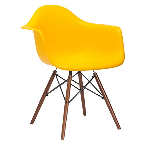 Poly and Bark Eames Style Molded Plastic Dowel-Leg Armchair with Walnut Legs, Yellow