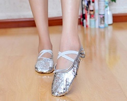 MagiDeal NEW Women's Girls Satin Ballet Pointe Shoes Toe Shoes with Ribbon 4Colors 36 37 38 39 40 - Sequins Silver, 36