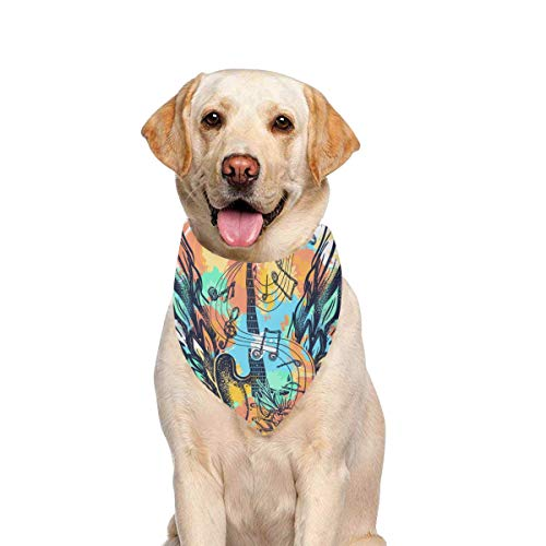 JTMOVING Dog Scarf Guitar Wings Tattoo Splashes Style Printing Dog Bandana Triangle Kerchief Bibs Accessories for Large Boy Girl Dogs Cats Pets Birthday Party Gift -