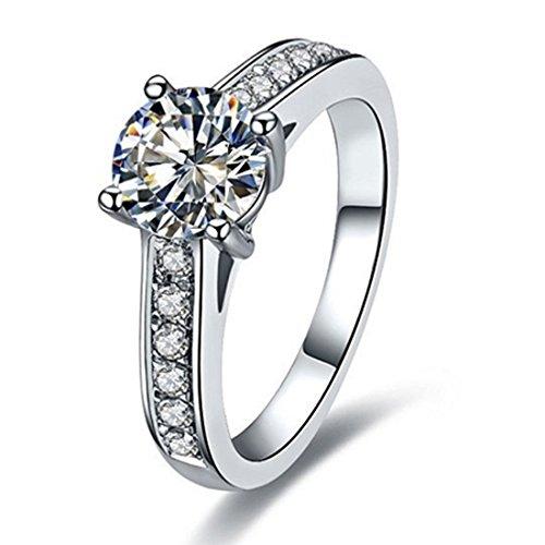 18k White Gold Moissanite Ring - THREE MAN Test Positive Solid White Gold Engagement Ring for Women 1CT Brand Moissanite Ring Jewelry