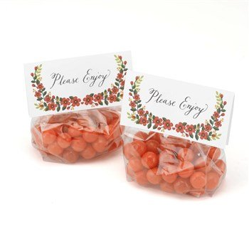 Hortense B. Hewitt Floral Treat Toppers with Cello Bags, Set of 25 -