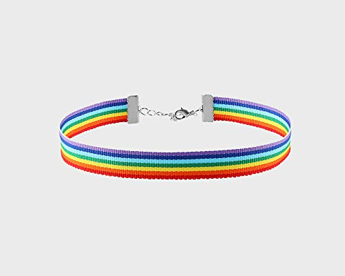 LGBTQ Pride - Rainbow Choker Necklace for Gay Pride Awareness (1 Necklace in a Bag) ()