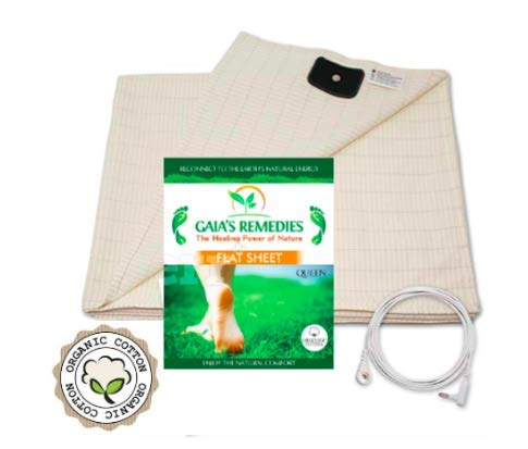 Earthing Grounding Queen Size Flat Sheet with Cord, and Grounding TESTER - Organic Cotton with Silver Thread Fiber for Better Sleep, Healthy Earth Connections, Less Pain, Reduced EMF- Natural colo Conductive