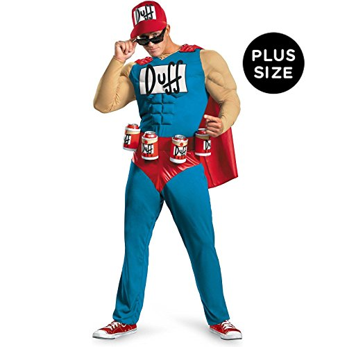 Disguise Unisex Adult Classic Muscle Duffman, Multi, XX-Large (50-52) Costume (Mens Halloween Costumes Ideas)