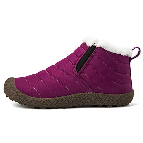 VAMV Snow Boots for Women Men Waterproof Hiking Ski Boots Fur Lined Outdoor Lightweight MT08-Purple36 by VAMV (Image #1)
