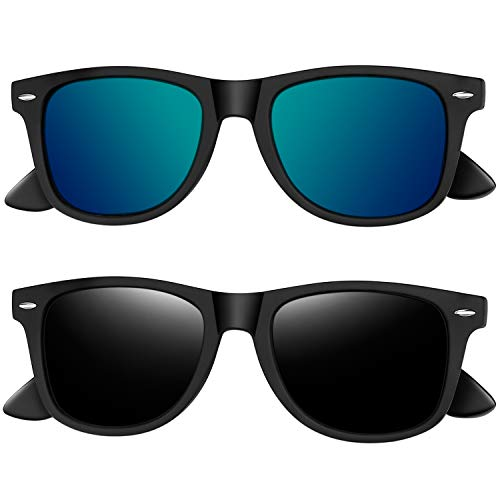 - Joopin Polarized Sunglasses for Women - 2 Pack Retro Brand Designer Mens Sunglasses (Black+Green)
