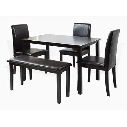 Magnificent Amazon Com 5 Piece Wood Dining Set Rectangle Table 3 Creativecarmelina Interior Chair Design Creativecarmelinacom