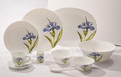 LaOpala Royal Iris Dinner Set, 21-Pieces, Multicolour