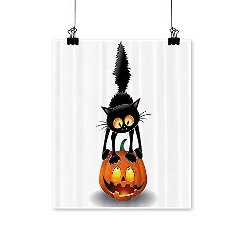 (Canvas Wall Art Romantic Black Cat Pumpkin Head Spooky Carto Characters Halloween Humor Themed for Home Decoration,12