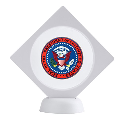 White Stone Chips (5-pack Challenge Coin 3D Display Stand Box (3.5 x 3.5