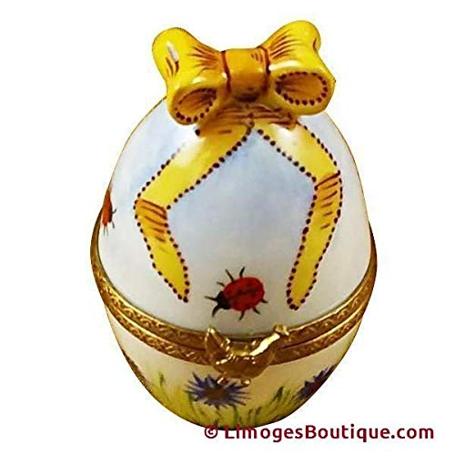 French Limoges Boxes Boutique EGG W/BOW & CHICKEN - LIMOGES BOX AUTHENTIC PORCELAIN FIGURINE FROM FRANCE
