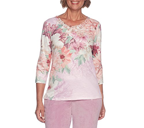 Alfred Dunner Petite Blouse (Alfred Dunner Petites' Asymmetrical Floral Top Petite Large)
