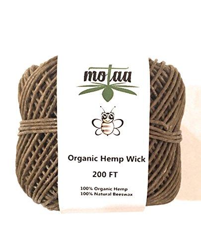 MOTAA 100% Natural Hemp Wick with coated Natural Bees Wax, 200ft spool NO dripping SLOW BURN (HEMP WICK)