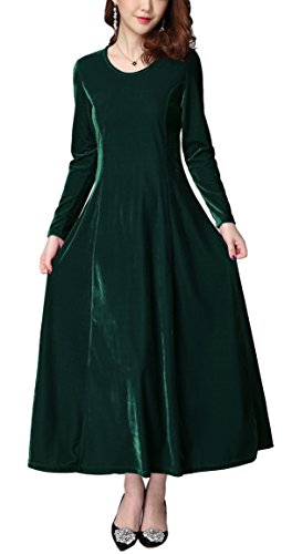 Urban CoCo Women's Elegant Long Sleeve Ruched Velvet Stretchy Long Dress (S, Green)