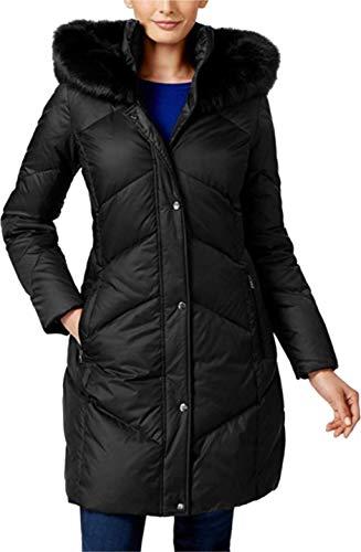 LARRY LEVINE Women's Navy Faux Fur Trim Chevron Quilted Down Coat (L) Black (Larry Levine Quilted Coat With Faux Fur Trim)