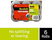 "Scotch Brand Sure Start Packaging Tape Refill Rolls, 6-Rolls, 1.5"" Core, 1.88 Inches x 900 Inches (DP-100"