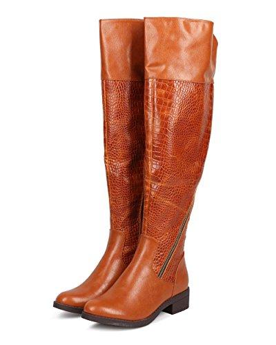 Liliana Dd04 Donna Snakeskin Punta Tonda Sopra Il Ginocchio Zip Boot - Cognac