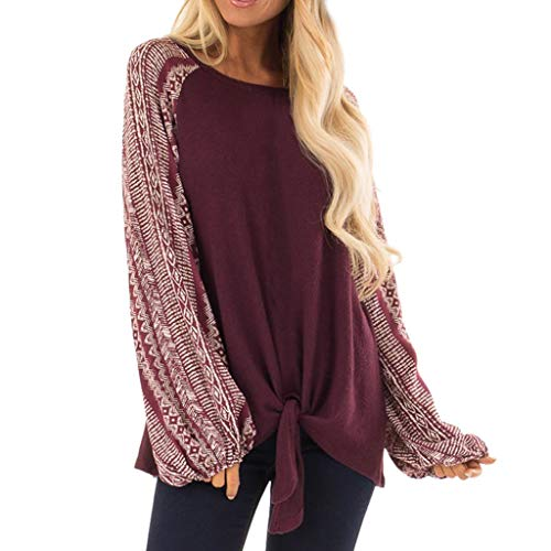 Fashion Women O-Neck Long Sleeves Printing Splicing Bandage Tops Easy Blouse Christmas Gifts (Wine, L) ()