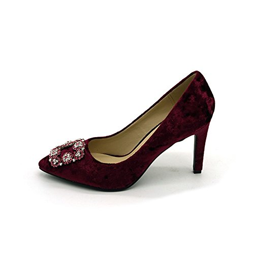 Women's Sexy Point Toe High Heels,Patent Leather Pumps,Wedding Dress Shoes,Cute Evening Stilettos Embroidered high Heels Pump (red 39/8 B(M) US - Dress Peek Patent A-boo
