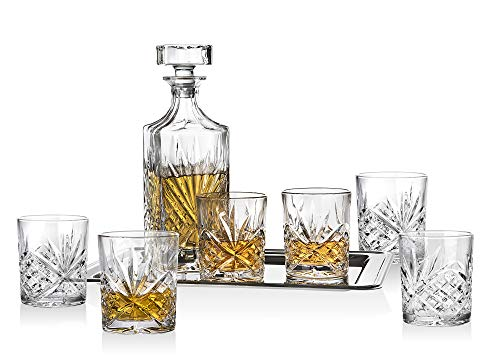 Dublin Display Cabinet - Dublin Whiskey Bar Set - Includes Whisky Decanter, 6 Old Fashioned Tumbler Glasses and Mirrored Display Tray