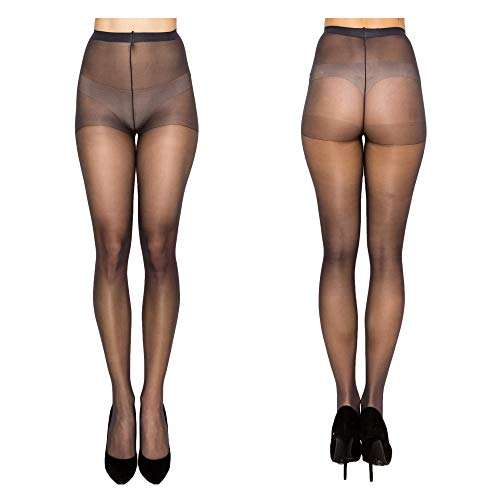 Women High Support Pantyhose Stockings - 2 Packs of Silky Soft Light weight Comfortable Stretchy Waistband Sheer Nylon and Spandex Hosiery Panty hose with Reinforced Toe for Woman - Plussize ()
