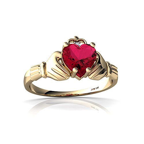 14kt Yellow Gold Lab Ruby and Diamond 6mm Heart Claddagh Ring - Size 8