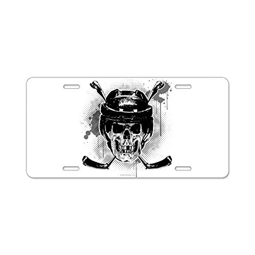 AhuiA-Hockey Skull Gifts Custom Personalized Aluminum Metal Novelty License Plate Cover Front Auto Car Accessories Vanity Tag- 6x12 Inches]()