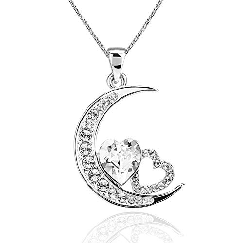 ASHE Moon Heart Necklace Pendant Valentine's Day Birthday Graduation Gifts for Mother's Day Women Girls Wife Girlfriend Mom from Swarovski