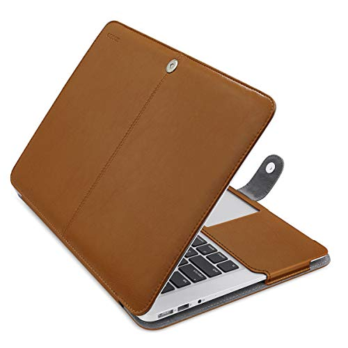 MOSISO MacBook Air 13 inch Case, Premium PU Leather Case Book Folio Protective Stand Cover Sleeve Compatible with MacBook Air 13 inch A1466 / A1369 (Older Version Release 2010-2017), Orange Brown