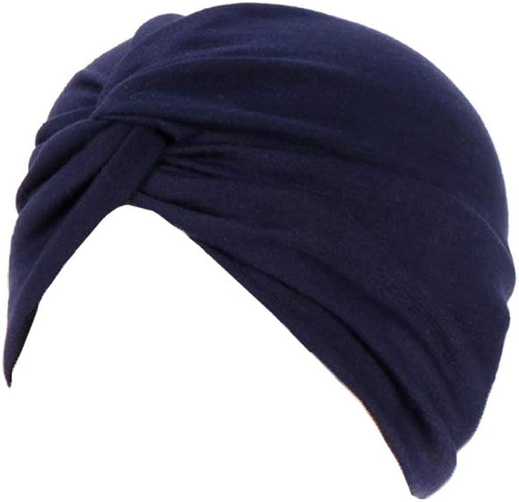Vobony Sombrero turbantes para Mujer Pañuelo para la Cabeza Algodón Cómodo Turbante Mujer Cancer Sombrero Quimioterapia Gorro para Quimio Oncológicos Pèrdida de Pelo Cabello Dormir (Azul Marino): Amazon.es: Ropa y accesorios