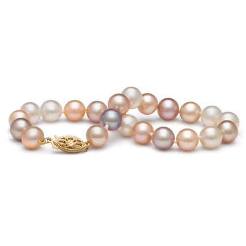 14k Freshwater Cultured Pearl Bracelet AAA Quality 7.5-8.0 mm 7.5'' Multicolor (White Gold & Yellow Gold) by Pearl Paradise (Image #6)