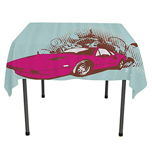 Vintage, Wipeable Table CoverCustom Collectors Old Car Grunge Background Cartoon Like Funky Art, Home Decoration Outdoor, 36x36 Inch Baby Blue Hot Pink Redwood