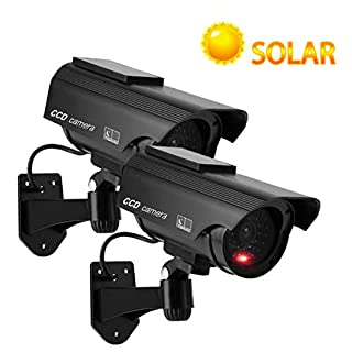YSUCAU Solar Powered Bullet Dummy Fake Simulated Surveillance Security CCTV Dome Camera Indoor/Outdoor Use with Flashing Red LED Light & Warning Security Alert Sticker Decal